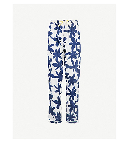 CHALMERS Audrey cotton pyjama bottoms (Paper+cut+flower+navy