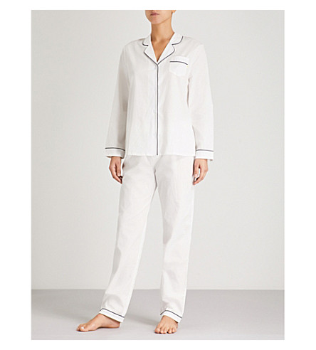 CHALMERS Frida cotton-jersey pyjama set (Plain+white
