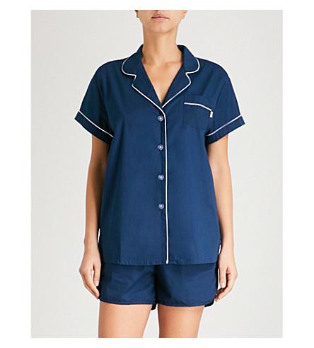 CHALMERS Daisy cotton-jersey pyjama set (Plain+navy