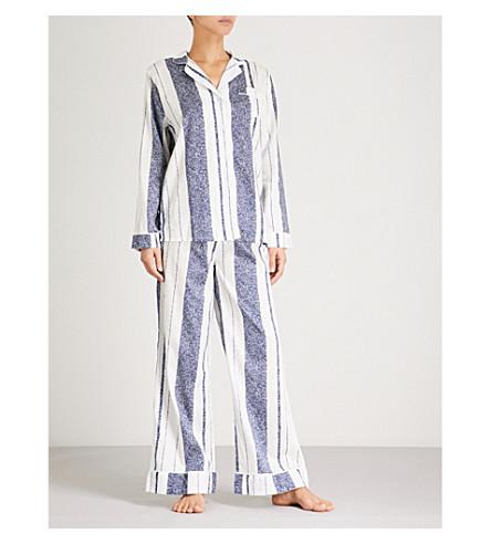 CHALMERS Paisley cotton-jersey pyjama set (Cous+stripe+navy