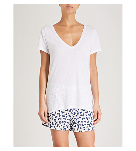 CHALMERS Lucy cotton pyjama shorts (Pebbles+white+navy