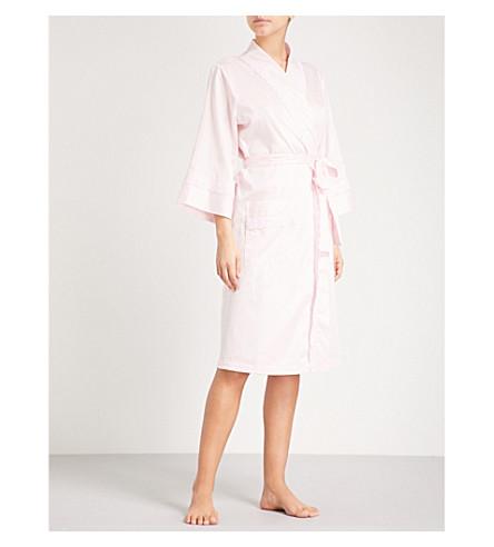 PETER ALEXANDER Paris broderie-anglaise cotton-poplin robe (Pink