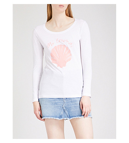 LADY GARDEN Suki Waterhouse cotton-jersey top (L+pink+print