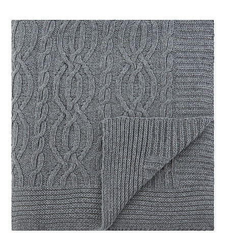 SOHO HOME Harrison wool-blend throw 177x127cm (Grey+marl