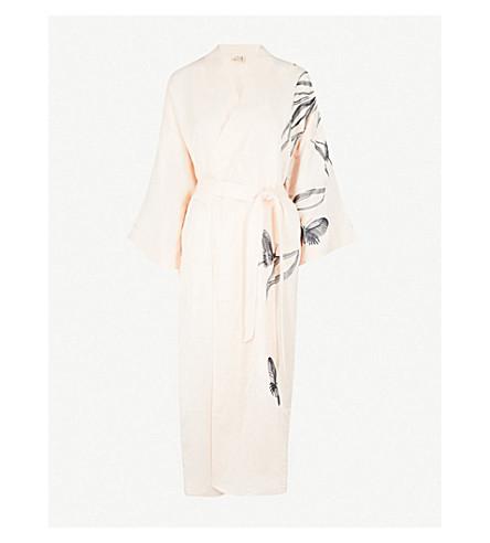 MORPHO AND LUNA Gigi embroidered linen-blend robe (Champagne