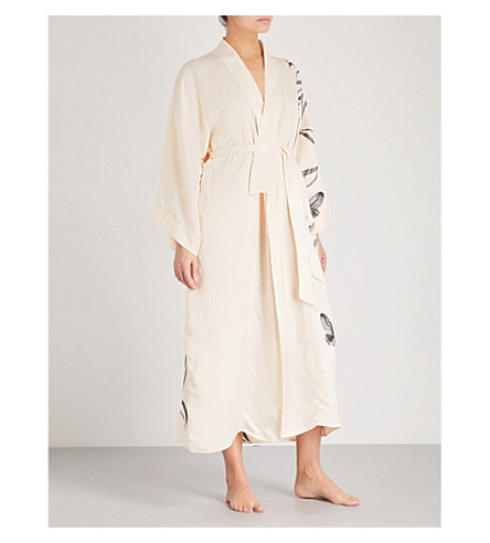 MORPHO AND LUNA Gigi embroidered linen-blend robe (Champagne