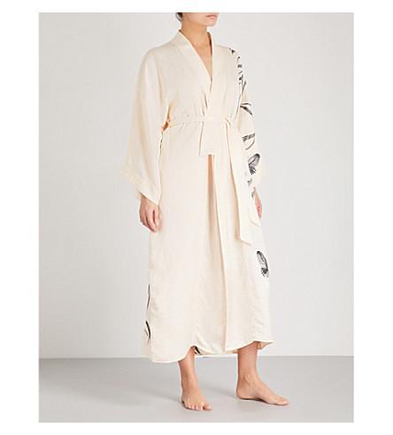 蝶和卢娜的刺绣亚麻混纺长袍 (香槟