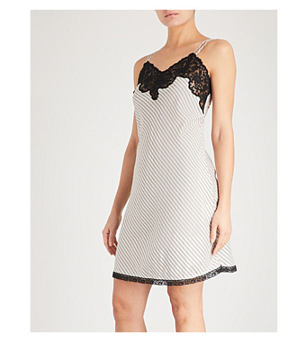 MORPHO AND LUNA Margot lace and silk-voile slip dress (Snow
