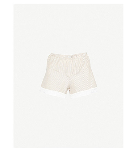 MORPHO AND LUNA Bina striped silk-blend pyjama shorts (Gold
