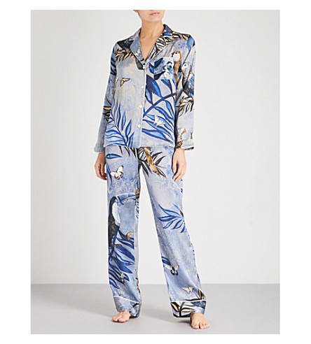 MORPHO AND LUNA Cara silk-blend pyjama set (Blue