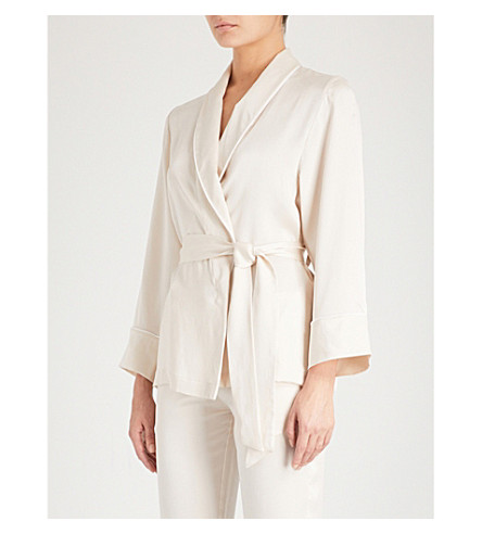 MORPHO AND LUNA Amelie silk-satin pyjama top (Champagne
