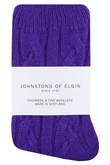 JOHNSTONS Cable knit cashmere socks