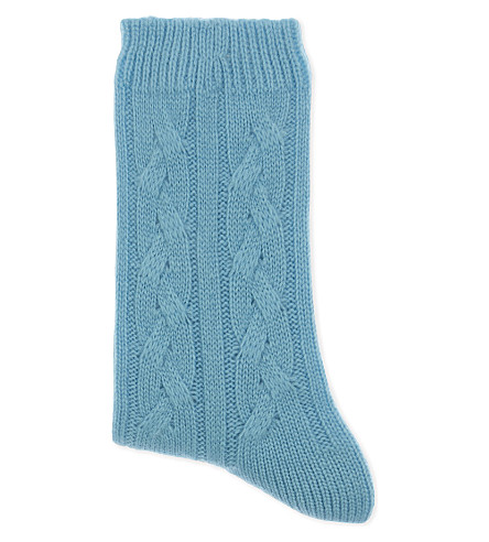 JOHNSTONS Cable knit cashmere socks (Bellevue