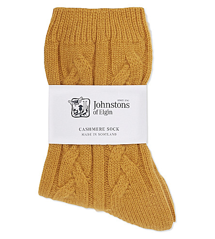 JOHNSTONS Cable knit cashmere socks (Gorse