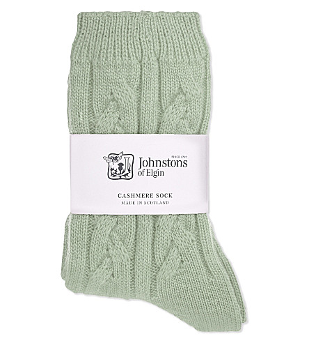 JOHNSTONS Cable knit cashmere socks (Pavillon