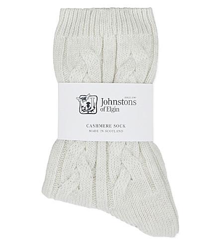 JOHNSTONS Cable knit cashmere socks (White noise
