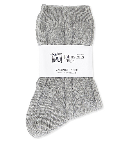 JOHNSTONS Cable-knit cashmere socks (Ha0200-42+grey