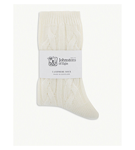 JOHNSTONS Cable-knit cashmere socks (White