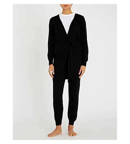 JOHNSTONS Hooded cashmere cardigan (Black