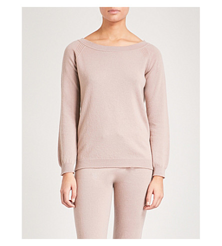 JOHNSTONS Boatneck cashmere jumper (Powder