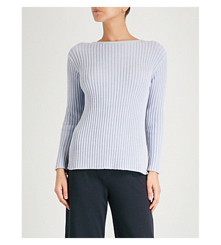 MAX MARA Ribbed knitted cotton-blend jumper (002+sky+blue