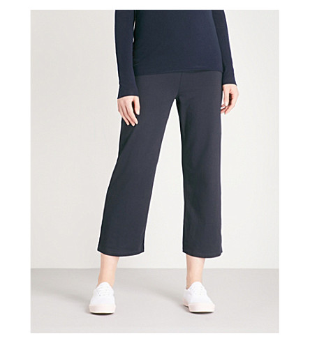 MAX MARA Buono cropped cotton-jersey jogging bottoms (001+navy