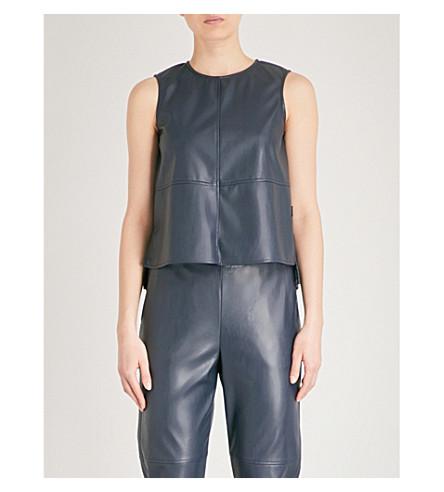 MAX MARA Kuban sleeveless faux-leather top (001+navy
