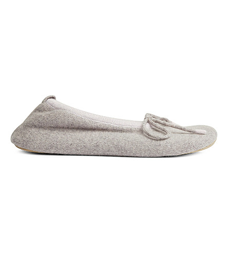 CASH CA Cashmere pompom slippers (Anthracite+horizon