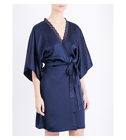 STELLA MCCARTNEY Clara Whispering silk dressing gown (Dark+ink+blue