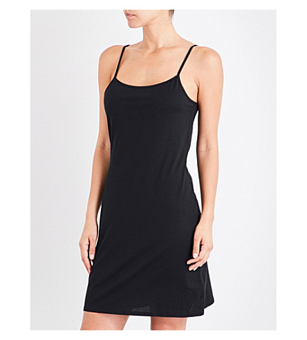 SUNSPEL Superfine cotton-jersey slip dress (Black