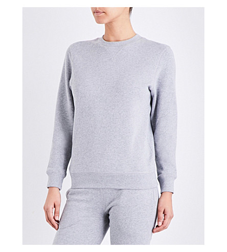 SUNSPEL Round-neck cotton-jersey sweatshirt (Grey+melange