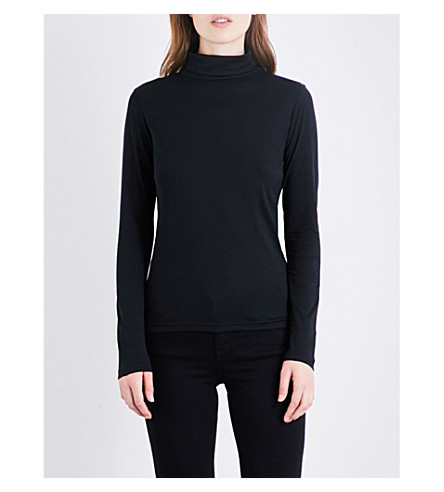 SUNSPEL Turtleneck cotton-jersey top (Black