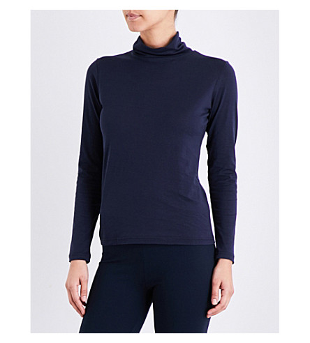 SUNSPEL Turtleneck cotton-jersey top (Navy