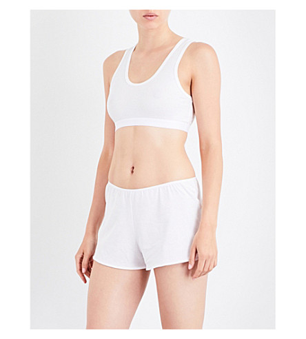 SUNSPEL Racerback stretch-cotton cropped top (White