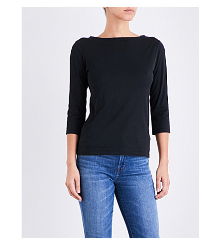 SUNSPEL Boat neck cotton-jersey top (Black