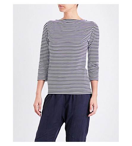 SUNSPEL Striped cotton-jersey top (White/navy