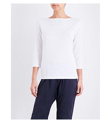 SUNSPEL Boat neck cotton-jersey top (White
