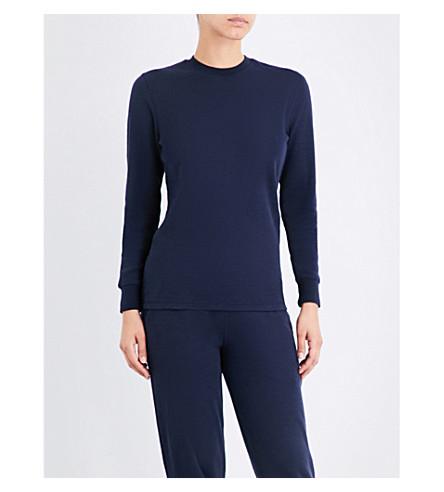 SUNSPEL Round-neck cotton-jersey sweatshirt (Navy