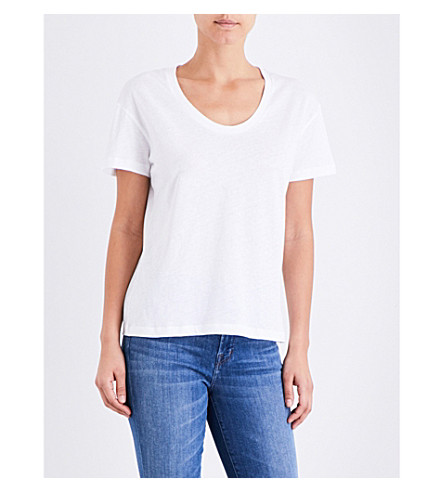 SUNSPEL Scoop neck cotton-jersey top (White