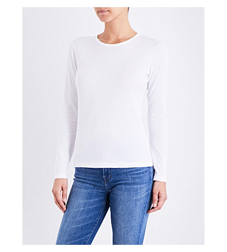 SUNSPEL Long-sleeve cotton-jersey top (White