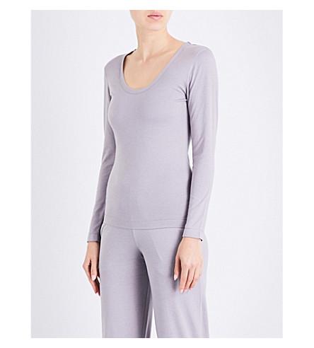 SUNSPEL Marl-patterned cotton-jersey lounge top (Smoke+grey