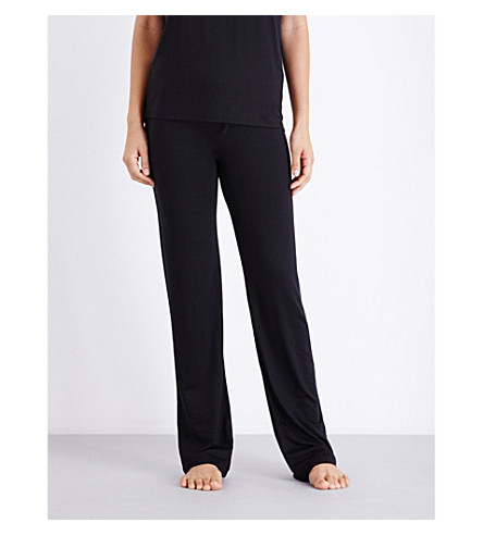 TOMMY HILFIGER Logo-embroidered stretch-cotton pyjama bottoms (Black