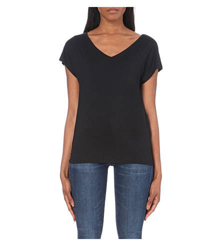 TOMMY HILFIGER V-neck jersey T-shirt (Black