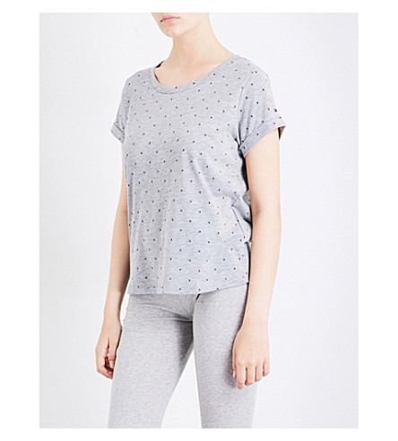 TOMMY HILFIGER Logo-print cotton-blend pyjama top (Grey+heather