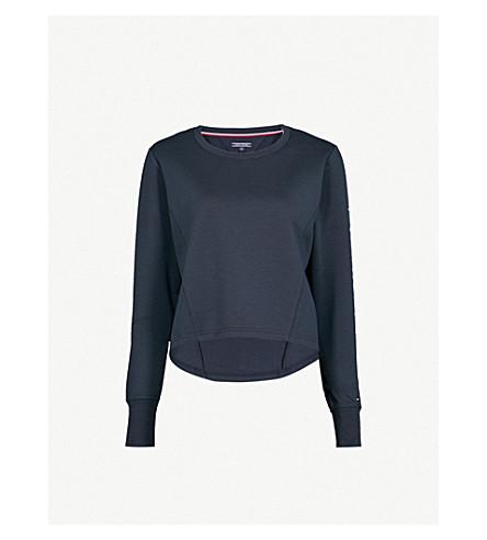 TOMMY HILFIGER Logo-print jersey sweatshirt (Navy+blazer