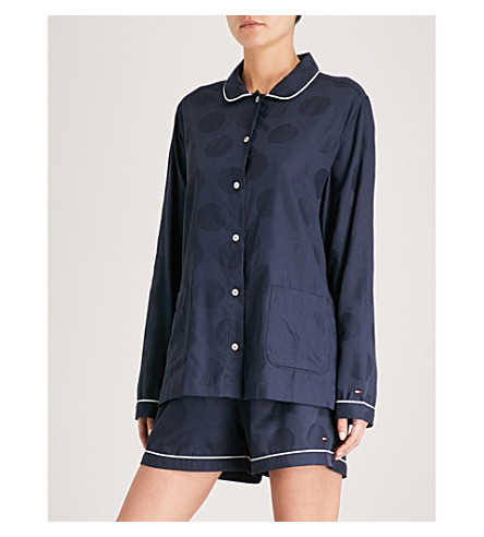 TOMMY HILFIGER Polka dot cotton-jacquard pyjama shirt (Navy+blazer
