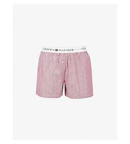 TOMMY HILFIGER Printed cotton-woven boxer shorts (White