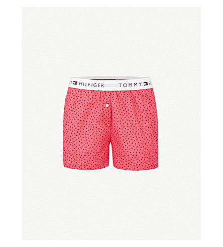 TOMMY HILFIGER Lodo-print cotton-woven boxer shorts (Raspberry+wine