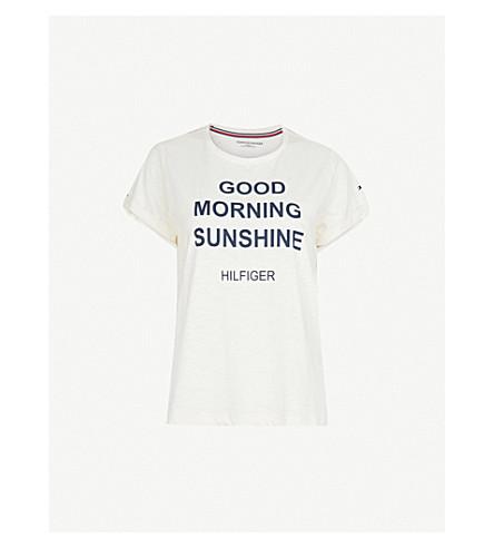 TOMMY HILFIGER Slogan-print cotton-blend pyjama T-shirt (Egret