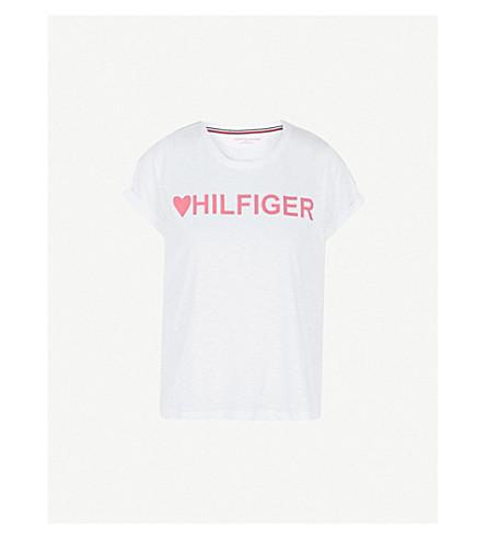 TOMMY HILFIGER Logo-print cotton-blend pyjama T-shirt (White